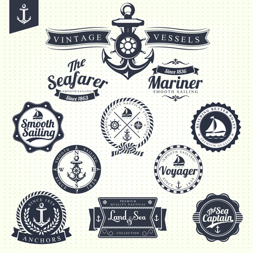 Set of Nautical labels vector 03