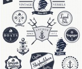 Set of Nautical labels vector 04