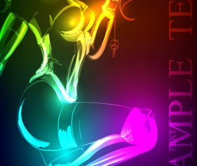 Stylish Neon woman vector art 02