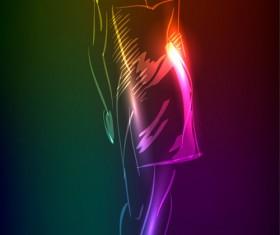 Stylish Neon woman vector art 04