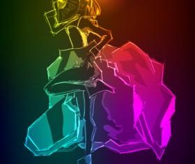 Stylish Neon woman vector art 05