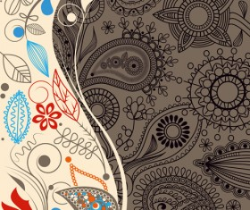 Set of paisley pattern Seamless vector 04
