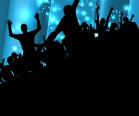 Set of People at a party Silhouettes vector 05
