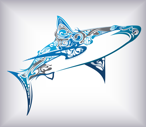 Set of cute sea animals vector 04