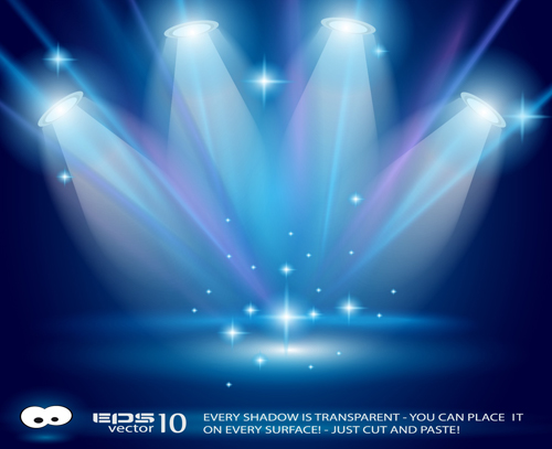 Pics photos stage lighting background with spot light effects psd - Set Of Blue Spotlights Background Vector 01 Vector