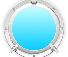 Steel porthole elements vector background 01