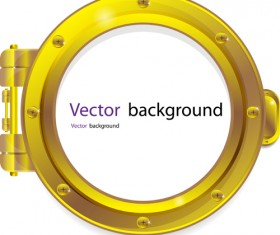 Steel porthole elements vector background 02
