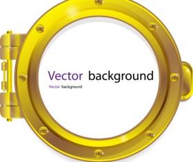 Steel porthole elements vector background 02
