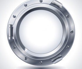 Steel porthole elements vector background 03