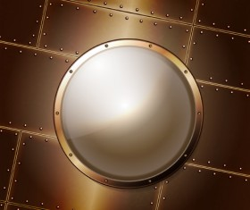 Steel porthole elements vector background 05