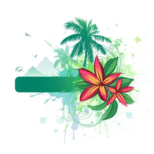 Tropical Elements Backgrounds Vector 01 Vector