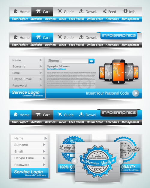 Web Navigation with Menu elements vector 02