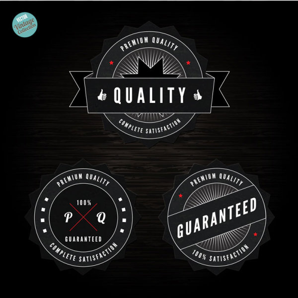 black label of Quality and guaranteed vector 02