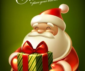 Cute Christmas elements cards vector 02