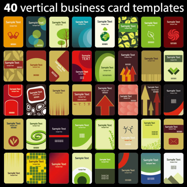 Set of 40 vertical business card templates vector 02 vector card set of 40 vertical business card templates vector 02 flashek Gallery
