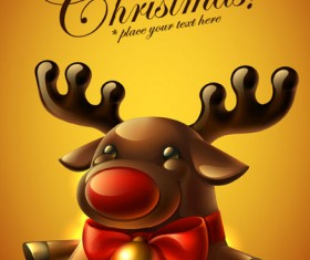 Cute Christmas elements cards vector 03