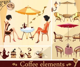 Set of street cafe vector 01