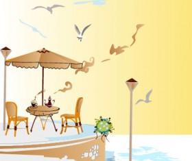 Set of street cafe vector 02