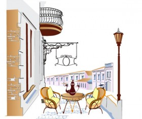 Set of street cafe vector 04