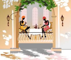 Set of street cafe vector 05