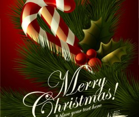 Cute Christmas elements cards vector 04