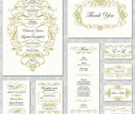 Elements of Vintage lace cards vector 01