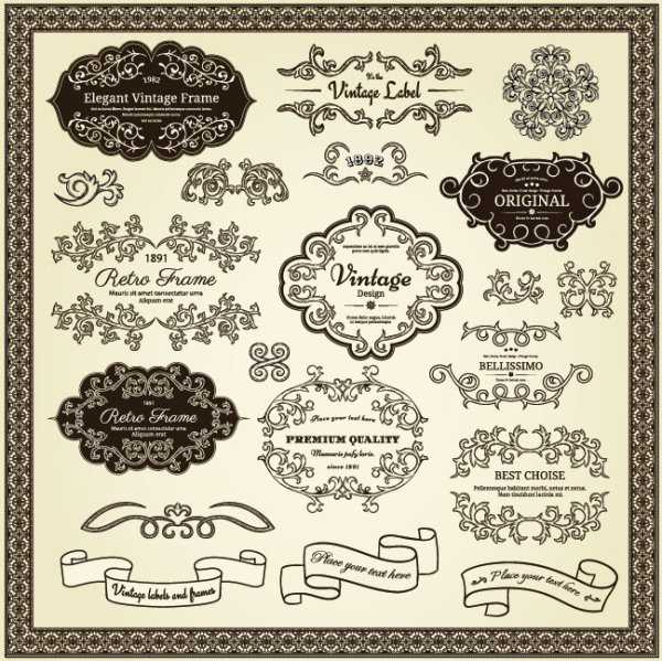 Elements Of Vintage Frames And Label Vector 02 Vector