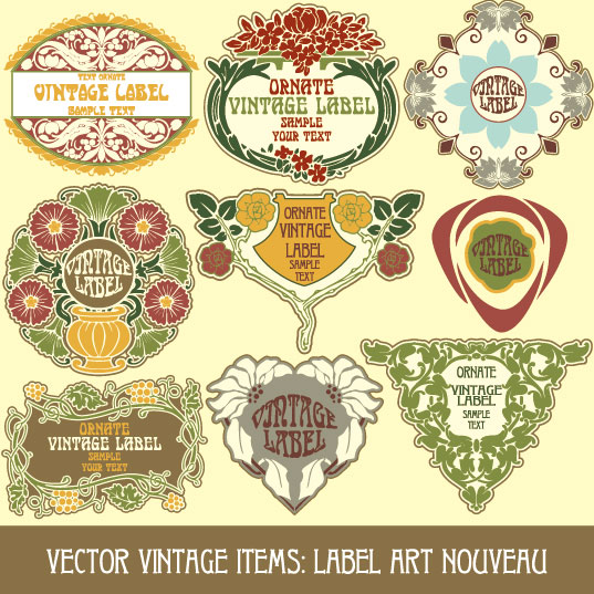 Set of vintage items label art vector 01