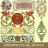 Set of vintage items label art vector 04