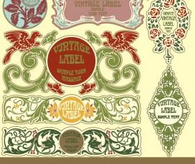 Set of vintage items label art vector 04
