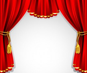 Red curtain elements vector background 02