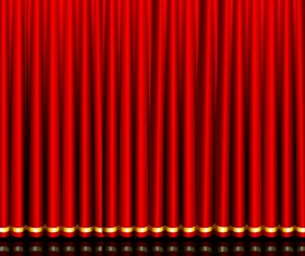 Red curtain elements vector background 03