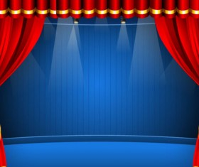 Red curtain elements vector background 04