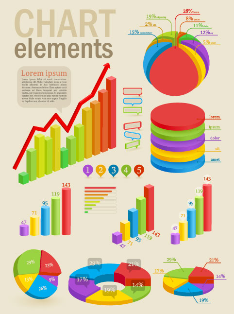 Set of chart and Infographics design elements vector 01