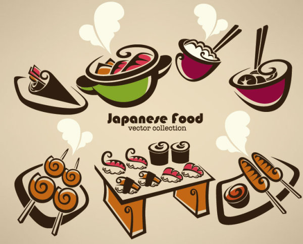 Hand drawn of food elements vector 01