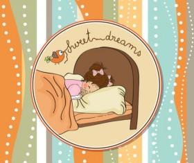 cute cartoon baby cards vector graphics 01