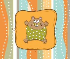 cute cartoon baby cards vector graphics 06