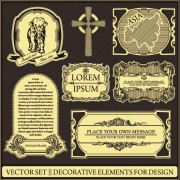 Link toRetro earth,continents and islands labels vector 02