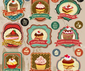 Different cupcakes elements label vector