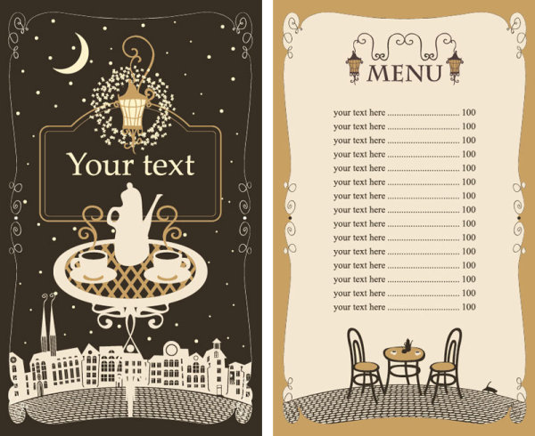 Cafe Menu Templates Free Download Set Of Cafe And Restaurant Menu Cover Template Vector 05  Vector .