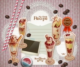 Retro food elements Message Paper 01