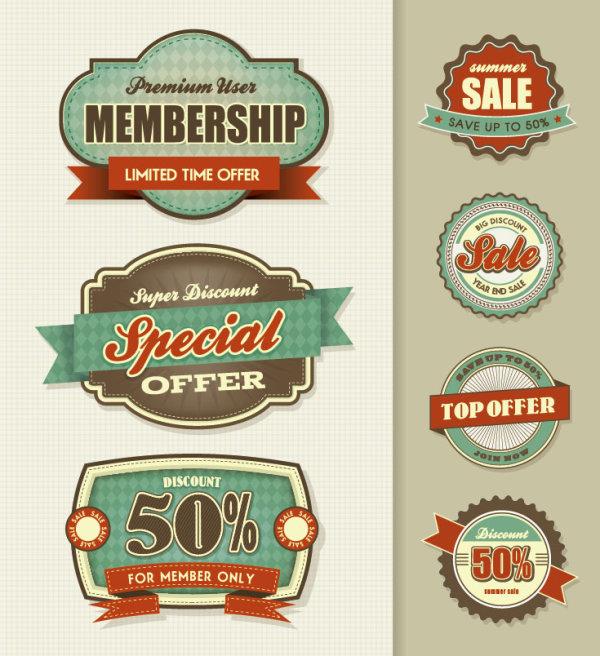 Best business elements labels vector 04