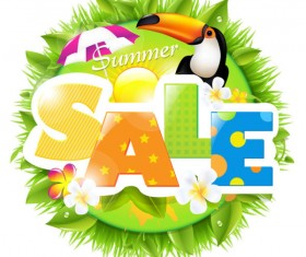 Sale elements in the summer vector graphics 01