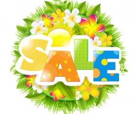 Sale elements in the summer vector graphics 02