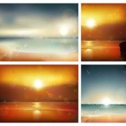 Link toSunrise at sea background vector graphics 01