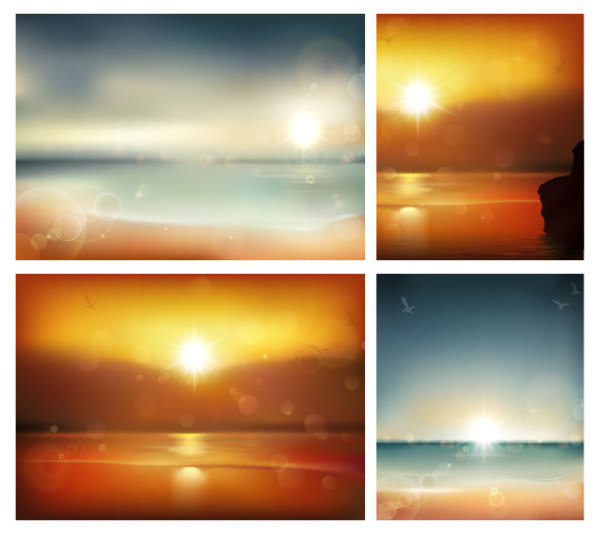 Sunrise At sea background vector graphics 01