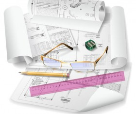 Architecture drawings design elements vector graphics 03