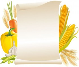 Message Paper and food elements vector