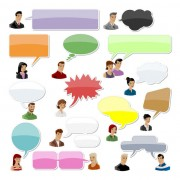 Link toCartoon people and speech bubbles vector graphics 01