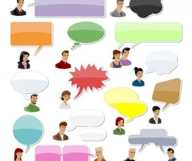 Cartoon People and Speech Bubbles vector Graphics 01